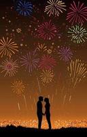 coppia festeggia il nuovo anno in cima alla collina vettore
