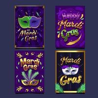 meravigliosa carta mardi gras maschera d'oro viola