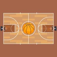 Pianta del campo da basket e basket. vettore