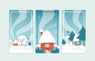 set di banner blu del paese delle meraviglie invernale vettore