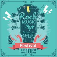 Festival di musica rock. Poster modello di sfondo. Chitarra astratta vettore