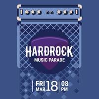 Vector Hard Rock Music Poster con chitarra elettrica amplificatore e chitarra Pickup illustrazione piatta