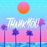 Grazie tipografia Beach Vaporwave Vector