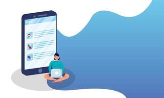 shopping e-commerce online con uomo utilizzando laptop e smartphone