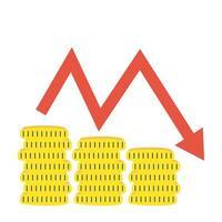 mucchio monete soldi dollari con statistiche freccia