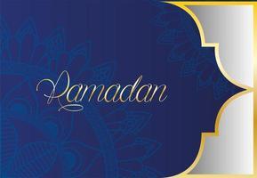 modello mandala ramadan kareem con cornice dorata