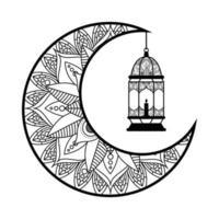 luna monocromatica e lanterna che appendono la decorazione del ramadan kareem vettore