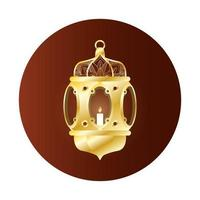 lampada dorata decorazione ramadan kareem vettore