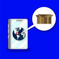 servizio di consegna scatola cartone in smartphone