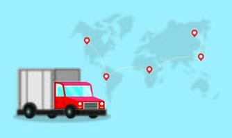 servizio di consegna camion con mappa del mondo terrestre e posizioni dei perni