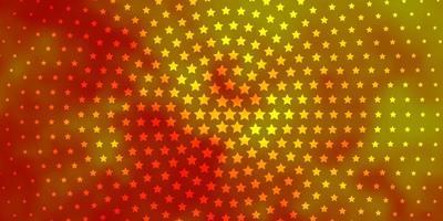modello vettoriale arancione chiaro con stelle al neon.