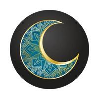 decorazione di ramadan kareem luna dorata