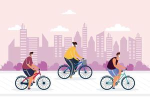giovani in bicicletta che indossano maschere mediche in città vettore