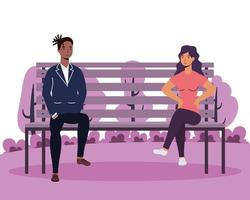 interrazziale giovane coppia amanti nei personaggi avatar sedia parco