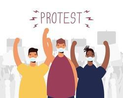 uomini interrazziali che indossano maschere mediche che protestano