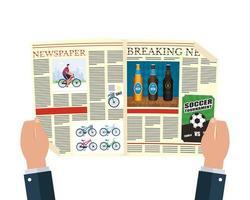 persona che legge il giornale con birre e calcio vettore