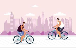 giovani che vanno in bicicletta indossando maschera medica vettore