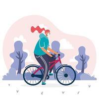 giovane donna che indossa la mascherina medica in bicicletta vettore