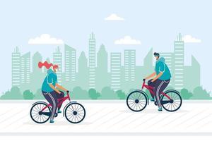 giovane coppia in bicicletta equitazione indossando maschere mediche vettore