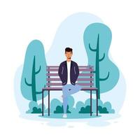giovane uomo casual seduto nel personaggio avatar sedia parco vettore