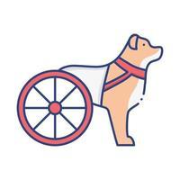 cane disabile con icona di stile piatto ruote