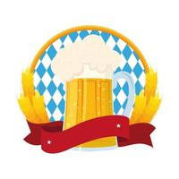 bandiera più oktoberfest e birra fresca in barattolo con punte d'orzo vettore