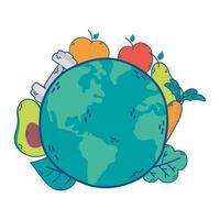 mondo pianeta terra con frutta e verdura