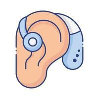 orecchio con apparecchio acustico per i non udenti stile piatto