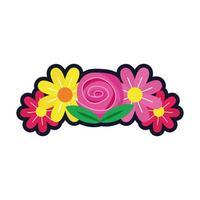 bellissimi fiori decorazione giardino piatto icona di stile