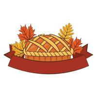 torta dolce del ringraziamento deliziosa con foglie e cornice del nastro