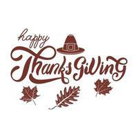 felice celebrazione del giorno del ringraziamento lettering con cappello e foglie del pellegrino