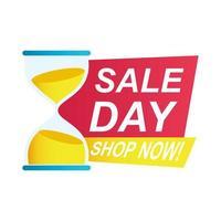 distintivo di conto alla rovescia di vendita del giorno con clessidra vettore