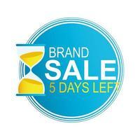 cinque giorni rimanenti distintivo per il conto alla rovescia della vendita del marchio vettore
