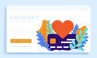 segno del cuore e design della pagina di destinazione del pagamento con carta di credito vettore
