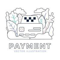 illustrazione di riserva di vettore di segno di taxi e carta di credito