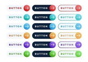 pulsante colorato vettoriale impostato su sfondo bianco