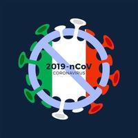 bandiera italia segno attenzione cellula coronavirus
