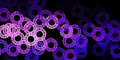 modello vettoriale viola scuro, rosa con elementi di coronavirus.