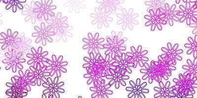 modello doodle vettoriale viola chiaro, rosa con fiori.