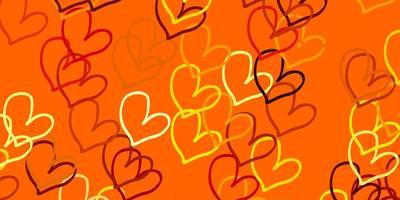 modello vettoriale arancione chiaro con cuori doodle.