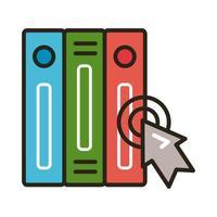 libri elettronici con la freccia del mouse