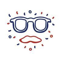 occhiali e baffi stile linea hipster vettore