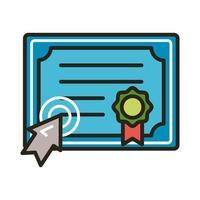 certificato di laurea e freccia del mouse