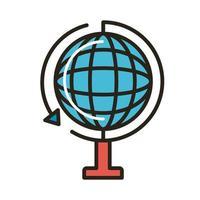 pianeta sfera con linea di frecce e stile di riempimento