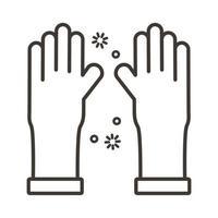guanti di gomma con stile linea di particelle covid19 vettore