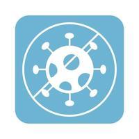 fermare l'icona di stile della linea di particelle di virus covid19