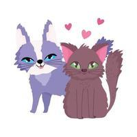 gatti dei cartoni animati che si siedono amore cuore animali domestici felini vettore