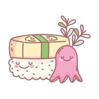 sushi e polpo menu personaggio ristorante cibo cartone animato vettore