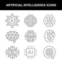 un set di icone di intelligenza artificiale di linea vettore