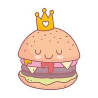 hamburger con corona menu dei personaggi ristorante cartone animato cibo carino